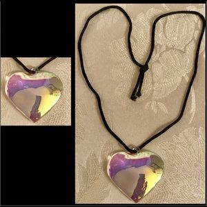 Glass Opalescent Heart on satin rope
